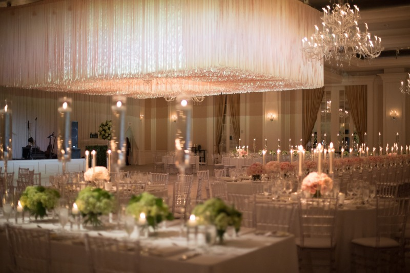 Dance Floor Decor Ribbon Treatment from Atlanta's Top Wedding Designer, Chris Macksey of Topher Mack Floral & Events